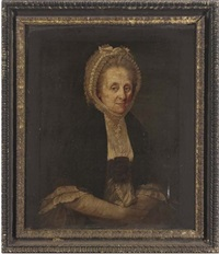 portrait of a lady in a black shawl and white lace bonnet by nathan drake