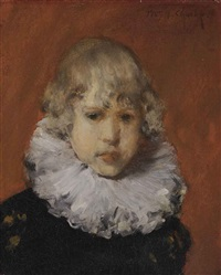 young boy with white ruffled collar by william merritt chase