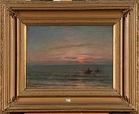 pêcheurs de crevettes au coucher du soleil by eugène verdyen