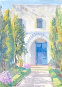 jardin devant une maison à la porte bleue by marcel vicaire
