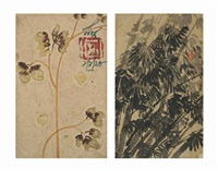 untitled (cotton flowers); untitled (bamboo shoots) (2 works) by nandalal bose