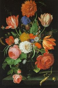 blumenstrauß von rosen, nelken, pfingstrosen, iris, wicke, malven in einer glasvase by hendrik schoock