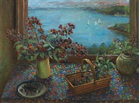 blackberries and harbour by margaret hannah olley