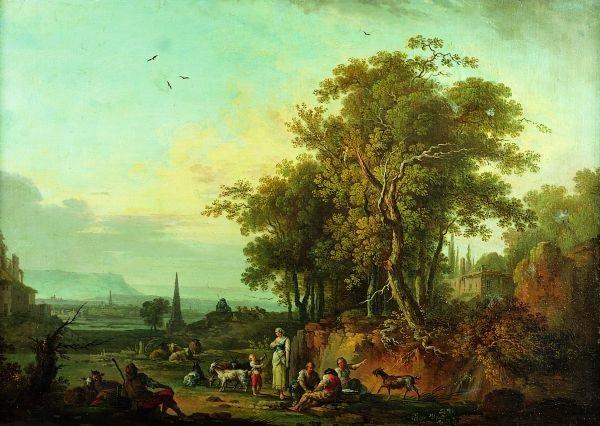 paysans et leur troupeau se reposant dans un vaste paysage lacustre by jean baptiste charles claudot