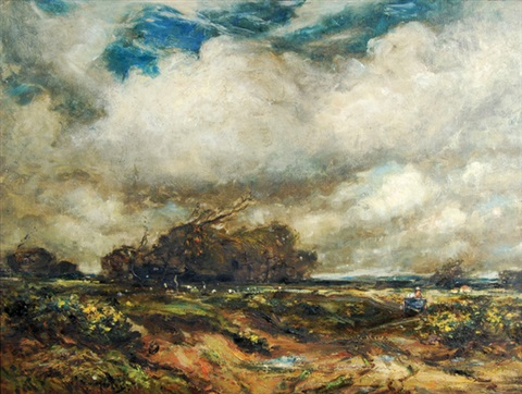 windswept heathland landscape by thomas william morley