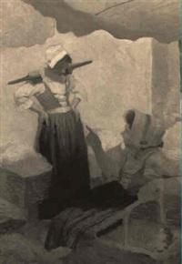 women at market by joseph bolegard