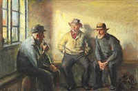 interior with three fishermen by michael peter ancher