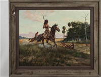 skirmish on paines prairie, c. 1830-32 by james hutchinson