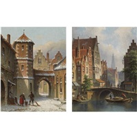 a view on the langbrugsteeg in amsterdam on a summer's day (+ figures in the snow covered streets of a dutch town; pair) by eduard alexander hilverdink