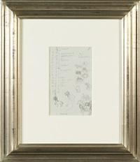 étude de chevaux avec calendrier (study) (double-sided) by rené magritte