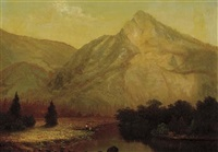 riverbank in front of a mountain by frederick a. butman