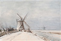 winter landscape with mills by louis apol