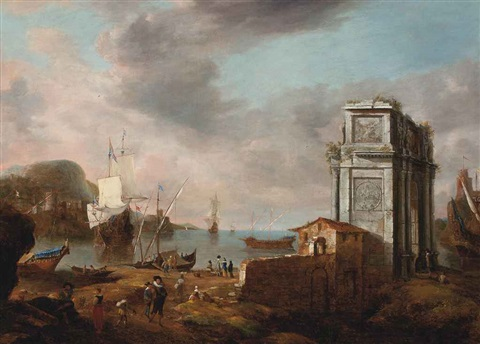 a mediterranean coastal landscape with elegant figures dutch men o war and other shipping by jan abrahamsz beerstraten