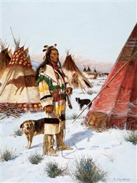 encampment of the blackfeet by john demott