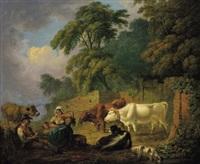 landschaft mit einer hirtenfamilie und kühen by joseph fussell
