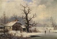 eine winterlandschaft mit eisläufern by german school-southern (19)