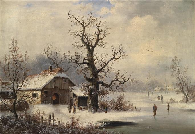 eine winterlandschaft mit eisläufern by german school southern 19