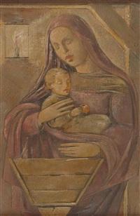 maria mit dem jesusknaben bei der krippe by aloys (wachlmayr) wach