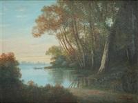 paysage à la barque by léon adolphe auguste belly