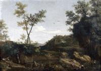 jeune pâtre jouant de la flûte dans un paysage de rivière by herman van swanevelt