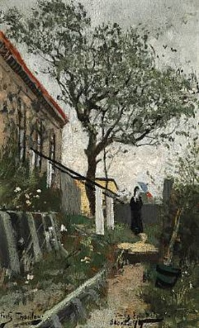 woman with a parasol on a path in the garden behind merchant holst's homestead, skagen by frits thaulow