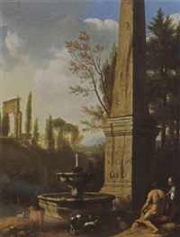 a classical landscape with shepherds resting with their flock by a fountain near a roman obelisk by gerrit van bronckhorst