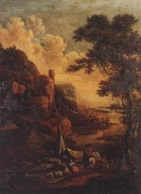 a mountainous river landscape with figures loading barges by gerrit (gerard) battem