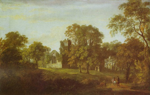 a wooded landscape with two riders on a path the ruins of a church beyond by william ashford