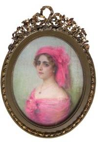 femme à la coiffe rose by nikolai alexeievich kasatkin