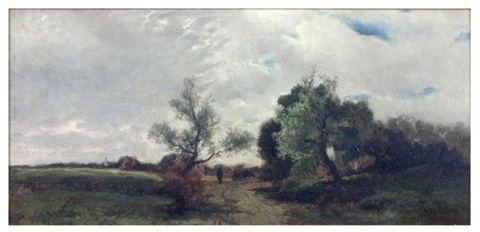 untitled landscape with cows and herder on country road by charles henry miller
