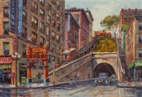 old los angeles, angel's flight railway by ben abril