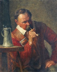 cavalier smoking in an interior by george raab
