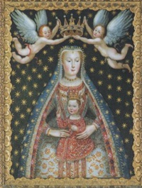 gnadenbild der gottesmutter mit kind und zwei engeln mit krone by lucretia sanvita