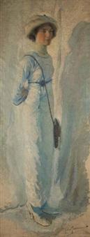jeune femme au chapeau by george van raemdonck