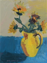 sunflowers in yellow vase by brian ballard