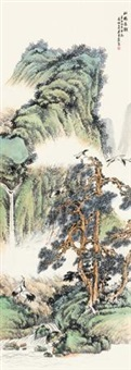 松鹤遐龄 立轴 设色纸本 by wu qingxia