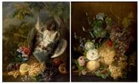 nature morte de fleurs et grappes de raisins, nature morte à la perdrix, aux fruits et fleurs (2 works) by jan van der waarden