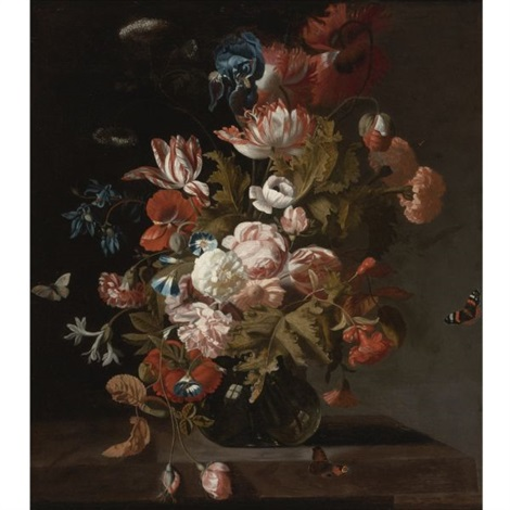 tulips, poppies, an iris, cow parsley, convolvuli and other flowers in a glass, with hovering butterflies by simon pietersz verelst