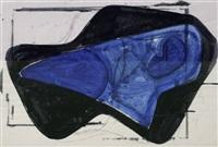 blaue form in schwarzer fläche by hermann glöckner