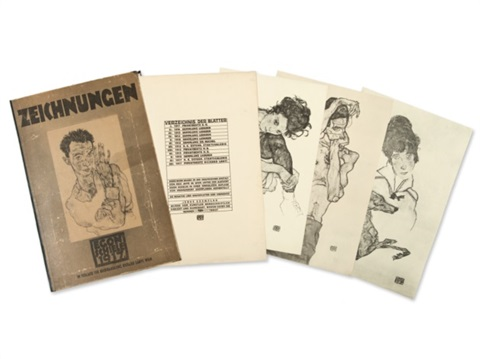 hand signed portfolio with 12 heliotypes portfolio of 12 by egon schiele