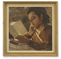 portrait of a young woman, reading a journal by lamplight by p. avallone