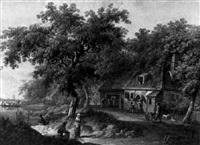 paysans devant une ferme près de la rivière avec le passage du bac by d.v. wyngaarden