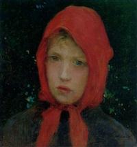 jeune fille au foulard rouge by luis gimenez y aranda