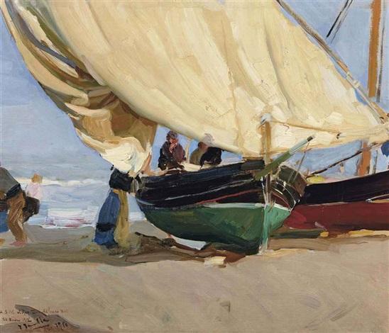 pescadores barcas varadas valencia by joaquin sorolla y bastida