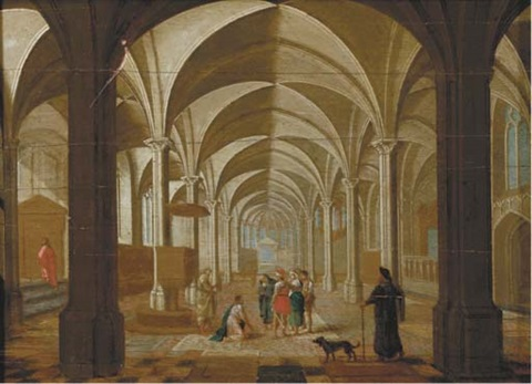 the transept of a gothic church with christ and the woman taken in adultery by peeter neeffs the elder