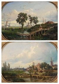 paysage de hollande (+ environ d'utrecht; 2 works) by auguste borget
