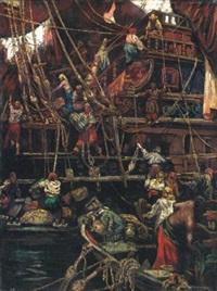 isztambuli kikötõ (harbour in istambul) by andor karolyi