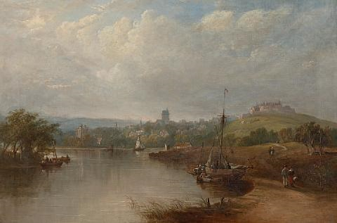 the landing place stirling with the ochil hills in the background by henry g duguid