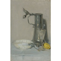 still life with flagon, glass and bowl by julian alden weir