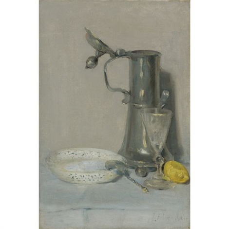 still life with flagon glass and bowl by julian alden weir